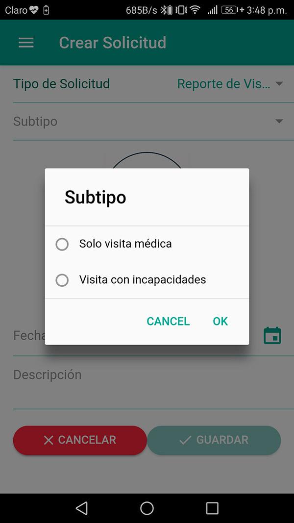 Crear solicitud subtipos visitas médicas