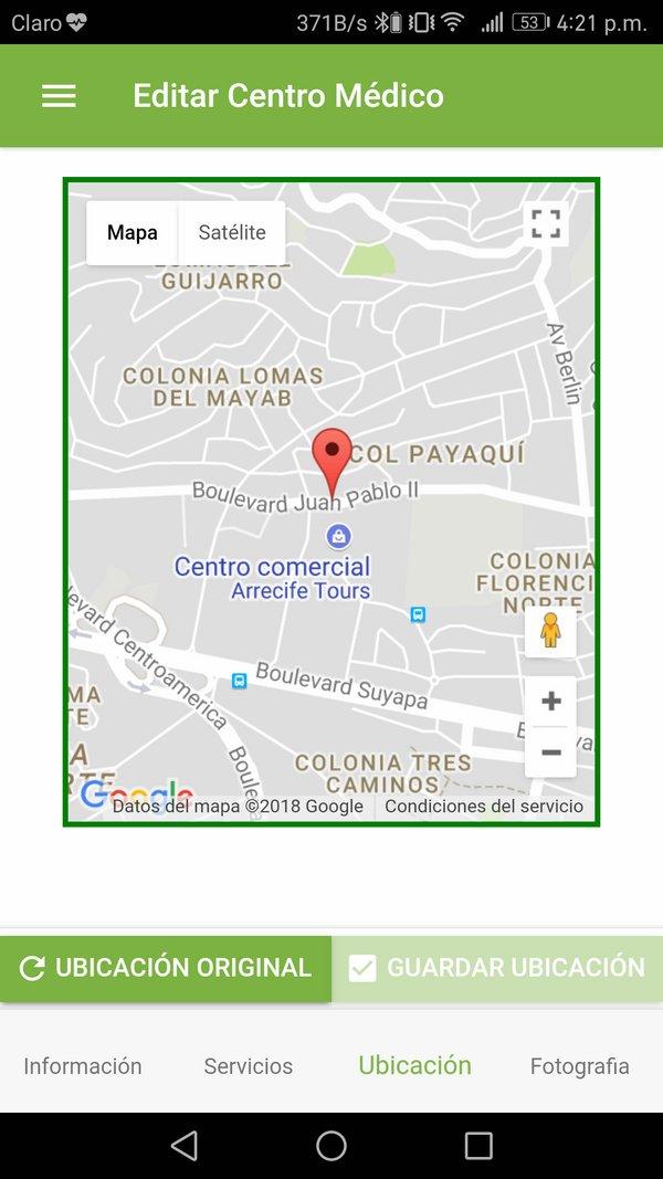 Editar centro médico ubicación